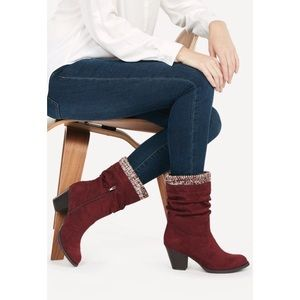 NEW!! JustFab Burgundy Faux Suede Boots!! Size 9